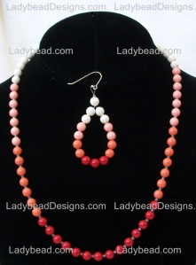 Coral Reef Sunset Pearl Necklace Set