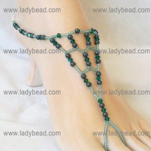Emerald Crystal Tahitian Look Pearl Foot Jewelry